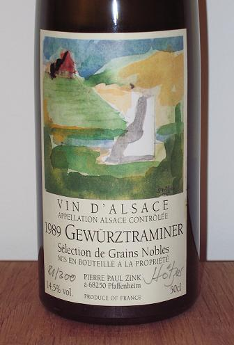 A bottle of Alsatian Gewurztraminer
